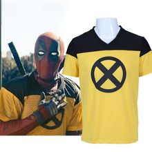 Купить с кэшбэком 2018 Movie Deadpool 2 T-shirts Superhero Wade Winston Wilson Yellow Short Sleeve V-Neck  Cosplay Tee Shirts Halloween Drop Ship