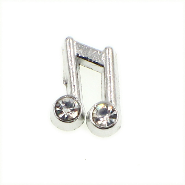 20PCS Silver Crystal Music Note Alloy Floating Charms Fit Glass Locket Charms DIY Jewelry Accessories