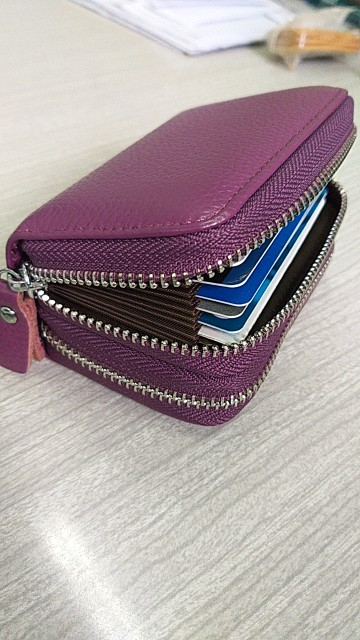 FSINNLV Genuine Leather Unisex ID Card Holder RFID Card Wallet Bank Credit Card Business Card Holder Protector Organizer DC118 photo review