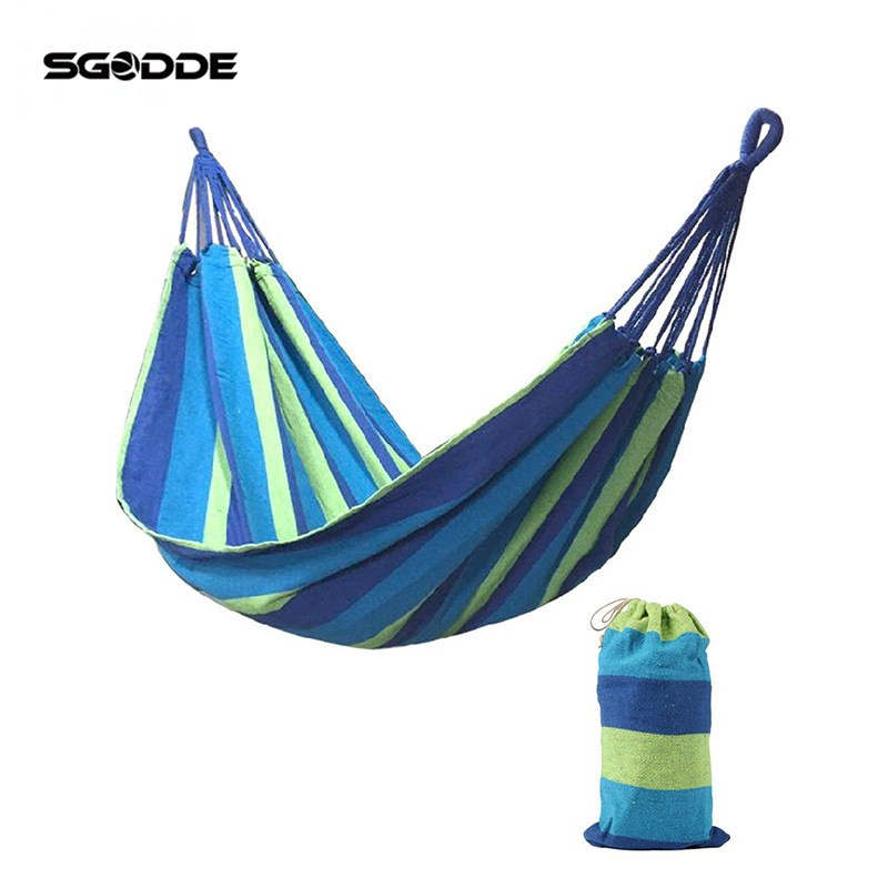 SGODDE Hamac Outdoor Leisure Bed Hanging Bed Double Sleeping Canvas Swing Hammock Camping Hunting 190X150cm Blue Red furniture size hanging sleeping bed parachute nylon fabric outdoor camping hammocks double person portable hammock swing bed