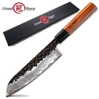 Handmade Santoku Knife 7 inch 3 Layers Japanese AUS10 High Carbon Blade Chef Kitchen Knives Professional Cooking  Slicing Tools 1
