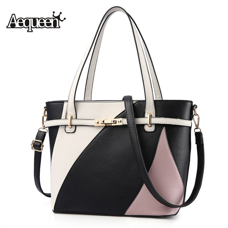 AEQUEEN Hit Color Handbag Women Shoulder Bags Patchwork PU Leather Big Tote Ladies Fashion Single Crossbody Bag Panelled Bolsa stylish patchwork plaid pu leather handbag women korean style fashion large shoulder bag ladies gorgeous simple crossbody bag