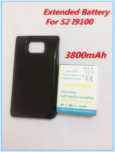 2017 New High Capacity 3800mAh Extended Battery with Black Back Cover Door For Samsung Galaxy S2 S II GT i9100 GT-i9100