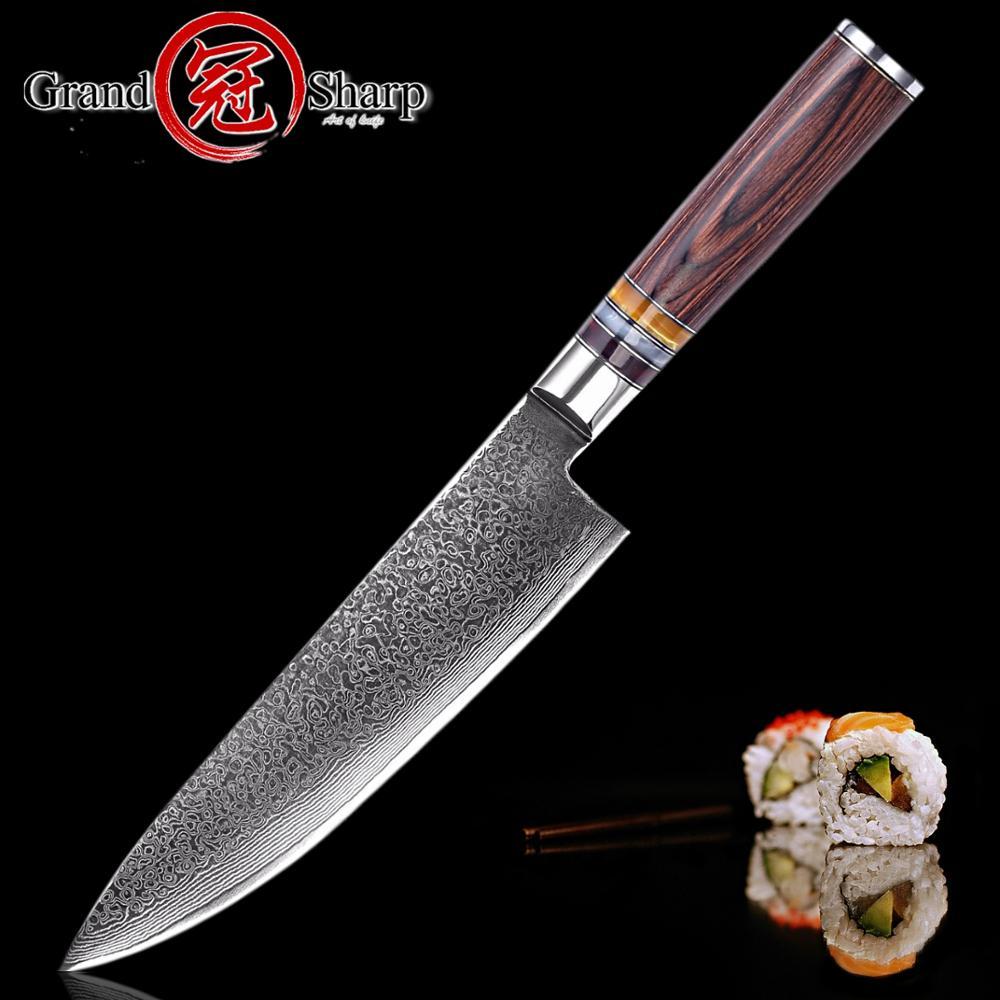 GRANDSHARP 67 Layers Japanese Damascus Knife Damascus Chef Knife VG 10 Blade Damascus Kitchen Knife Pakka