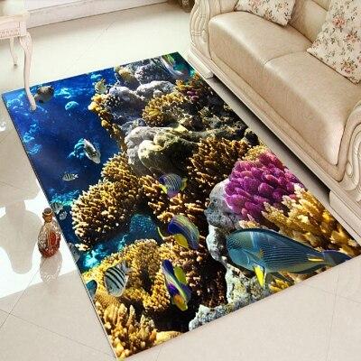 Else Tropical Aquarium Under Sea Fishes View 3d Print Non Slip Microfiber Living Room Decorative Modern Washable Area Rug Mat