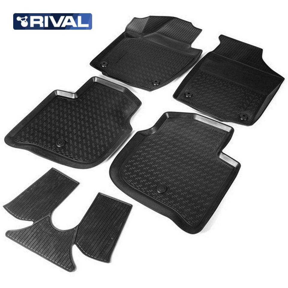 For Skoda Rapid 2013-2019 3D floor mats into saloon 5 pcs/set Rival 15102001 rubber floor mats into saloon for skoda rapid 2013 2019 5 pcs set rival 65102001