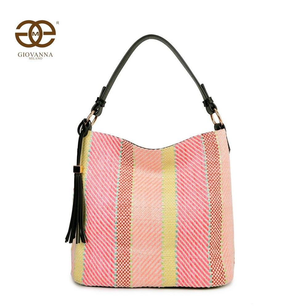 Giovanna Milano bolso mujer de hombro trenzado bolso de mano estilo hobo de lino multi-color cierre de cremallera diseño de marca famosa lujo G2169 2