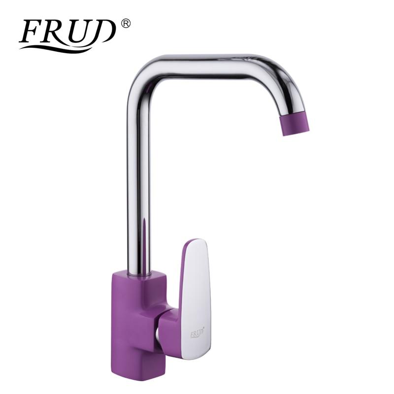FRUD Hot Sale Zinc alloy Purple Kitchen sink Faucets Single Hole Handle Chrome Flexible Kitchen tap