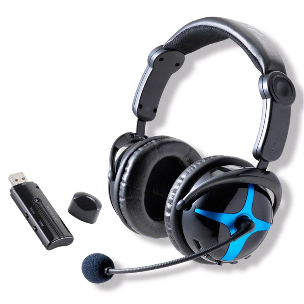 Meilleur Professionnel Over Ear Sans Fil Wifi RF 2.4 ghz Ordinateur PC Jeu Gaming USB Casque écouteurs Casque avec Microphone
