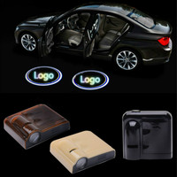 2Pcs Wireless For Most Car Door Welcome Logo Emblem Lights No Drill Type Badge Lights LED