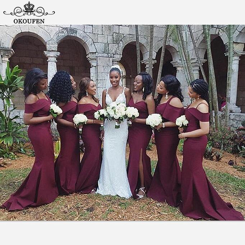 Floor Length Burgundy Mermaid Bridesmaid Dresses Maid Of Honor 2018 Sexy Off Shoulder Spaghetti Strap Long Party Dress For Women
