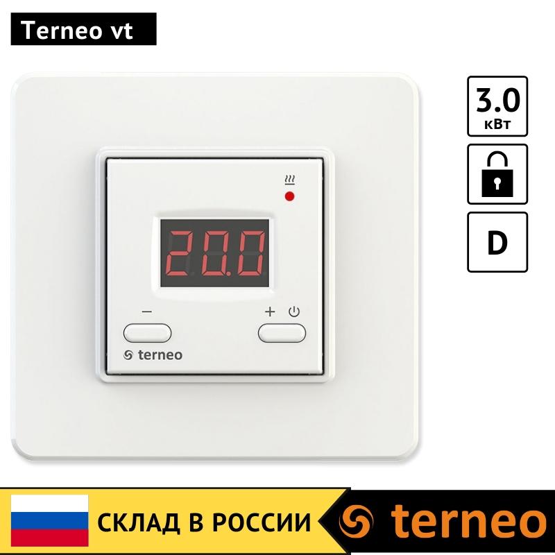 Terneo Vt - Electronic Room Thermostat With Digital Control For Electric Infrared Heaters And Convectors With Temperature Sensor