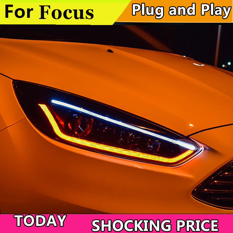 doxa Car styling case for Ford Focus 2015 Headlights LED Headlight DRL LED lens headlamps HID