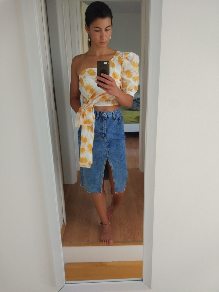 Casual Print Shirt For Women Puff Sleeve Off Shoulder Irregular Crop Tops Female Summer Fashion Clothes New photo review