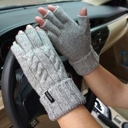 Fashion Male Warm Fingerless Gloves Genuine Sheep Wool Mitt Exposed Finger Autumn Knitted Wrist Mittens Driving Gloves For Men