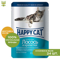 Happy Cat pouche for cats (pieces in jelly), Salmon and shrimp, 24*100 g.