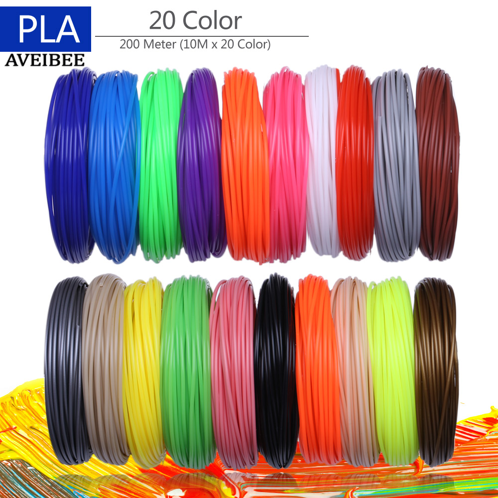 3D Printer Filaments 200 Meters 20 colors 3D Printing Pen Plastic Threads Wire 1.75 mm Printer Consumables 3D Pen Filament PLA new arrival 3d printing pen with 100m 10 color or 200 meter 20 color plastic pla filaments 3 d printer drawing pens for kid gift