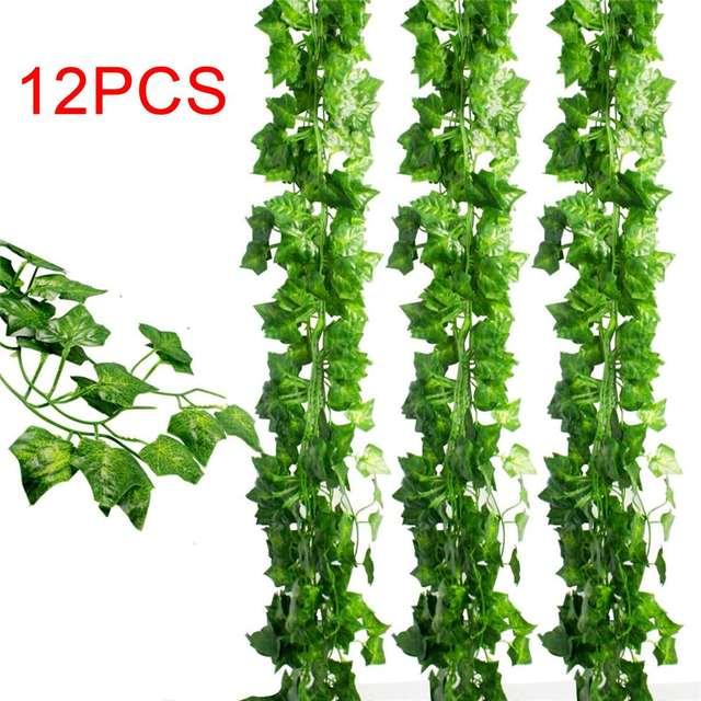 plastic 12pcs set artificial greenery vine fake ivy leaves garland