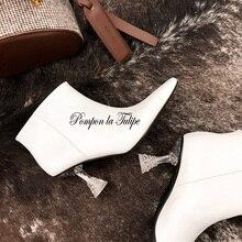 BHS 9011155 Chic 7CM Strange Style Crystal Heel Genuine Sheepskin Square Toe Ankle Comfy Stylish Slip On Fashion Women Boots