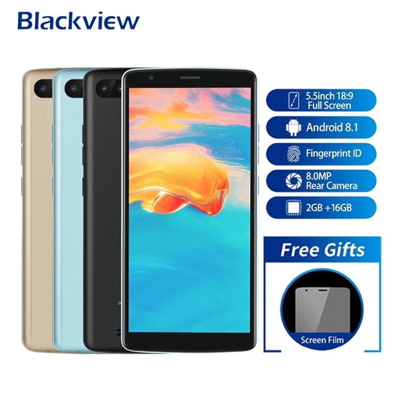 Blackview A20 Pro Smartphone Android 8.1 2 GB + 16 GB 5.5 Pouces 18:9 Plein Écran MT6739 Quad Core 8MP d'empreintes digitales 4G LTE téléphone portable
