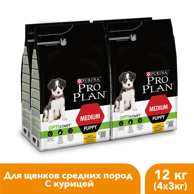 Dry food Pro Plan for puppies of medium breeds with the OPTISTART complex with chicken, 12 kg. dry food pro plan for puppies of small and mini breeds with the optistart complex with chicken and rice 12 kg