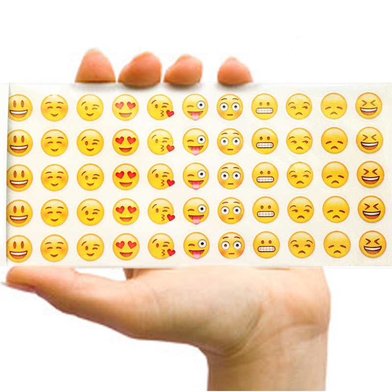 6pcs 660 Die Cut Lovely Cute Emoji Smile Expression Phone Laptop Stickers for Notebook Message Children Cartoon Decor Toys