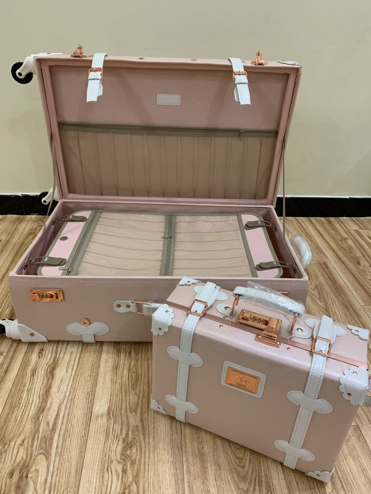 New Girl Travel Suitcase Luggage Pu Genuine Leather Spinner Rolling Luggage Leather Luggage High Quality