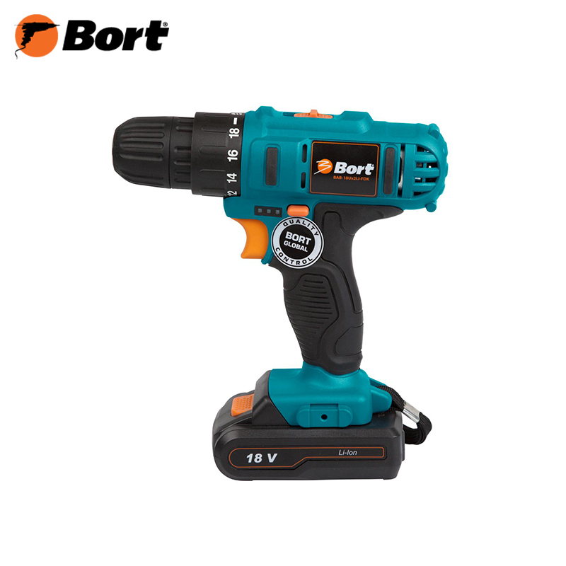 Cordless screwdriver Bort BAB-18U x 2 LI-FDK li-ion battery power tool drill high quality nightkonic 26650 battery 3 7v li ion rechargeable battery for led flashlight torch