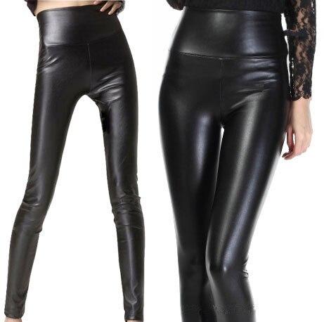 PADEGAO women sexy modern slim PU leggings black brown pure color High Elastic Waist Leggings Skinny punk Leather women leggins