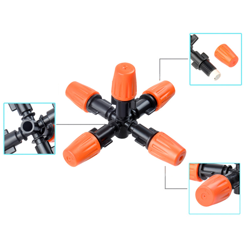 Multidirectional Garden Sprinklers 5 Head Micro Irrigation Watering Control Sprayers Adjustable Mist Nozzles with Hose Connector in Garden Sprinklers from Home Garden