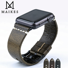MAIKES New Design Gunuine Leather Watch Strap For Apple Watch Band 42mm 38mm / 44mm 40mm Series 4 3 2 1 iWatch Watchband new fabric watch strap watchband for applewatch series 1 2 38mm 42mm men women 2017 fresh green design watch band apb2548
