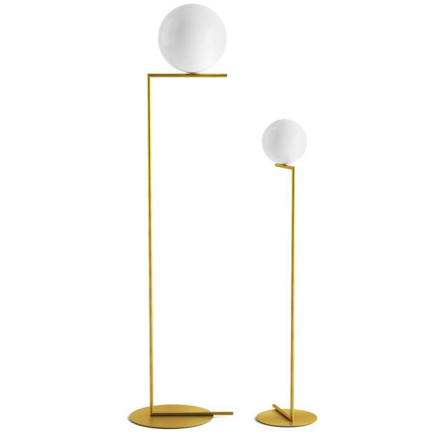 Creative simple floor lamps glass ball standing lamp chrome gold for living room bedroom new design art home decoration lighting