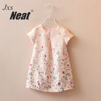 NEAT HMBB 2017 Fashion Baby Girl Short Sleeved Dress Summer Baby Dress Chinese Style Pure Color