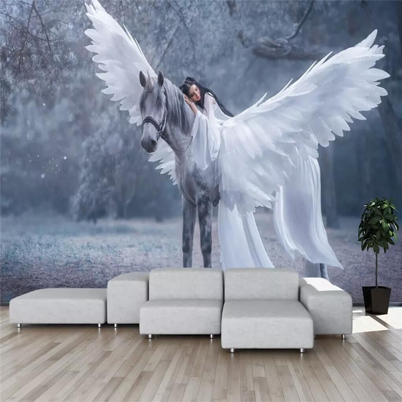 Nordic Dream Forest Pegasus Beautiful Background Wall Manufacturers Wholesale Wallpaper Murals Custom Photo Wall