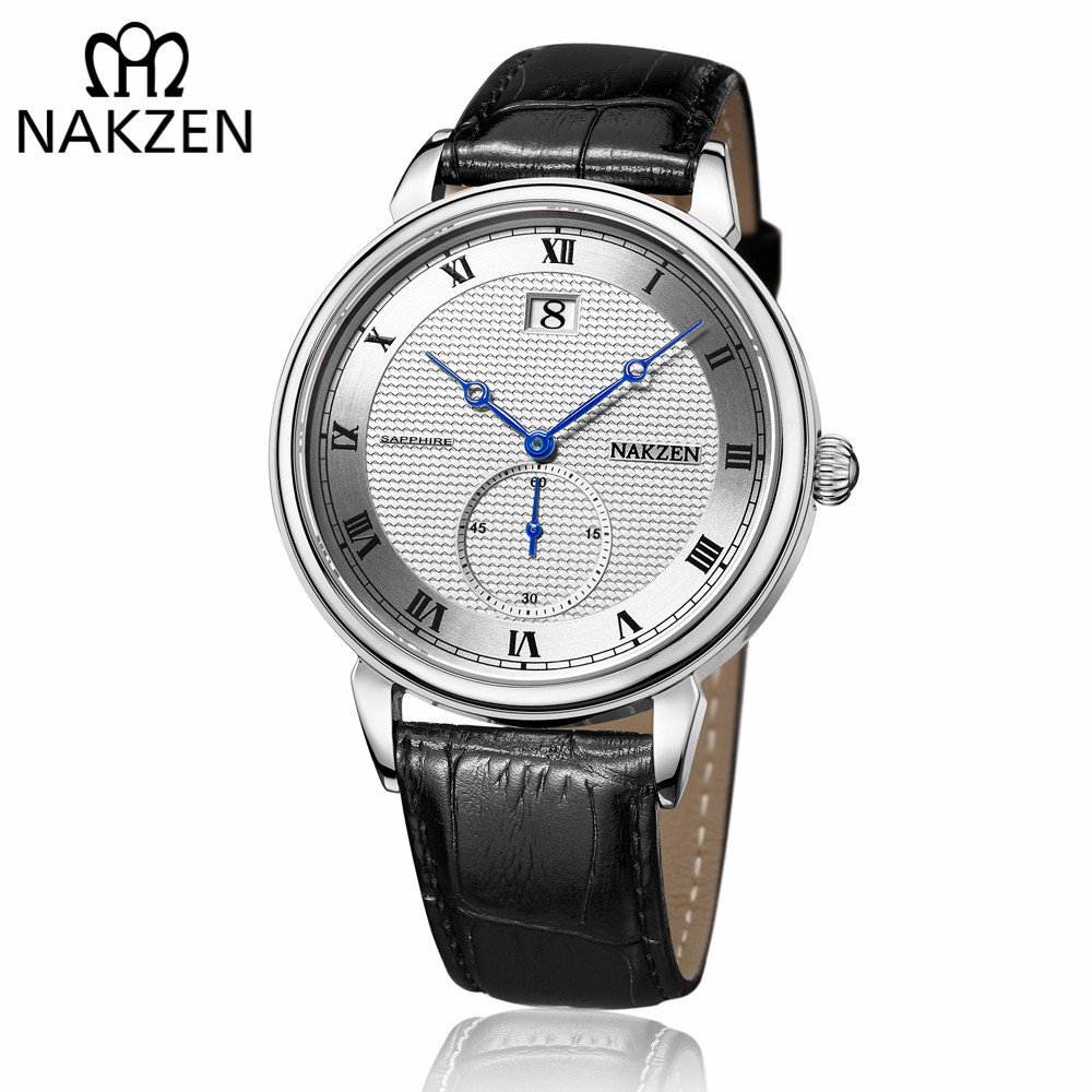 цена на NAKZEN Classic Men Watch Top Brand Luxury Function Date Leather Sport Watches Male Business Quartz WristWatch Relogio Masculino