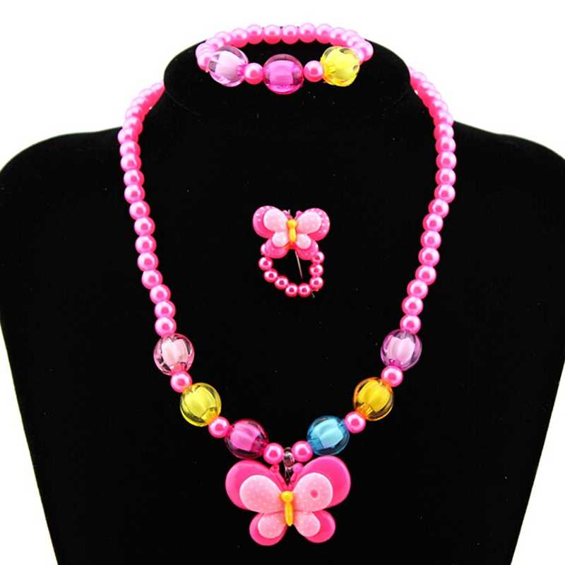 Fashion Lovely Beads Charming Butterfly Necklace Bracelets Kids Baby Girls Jewelry Set Children Gift