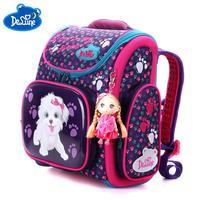 New Fashion DELUNE Children Cartoon Dogs Cute Bear Girls School Bags Waterproof Foldable Orthopedic School Backpacks Kids Bolsas