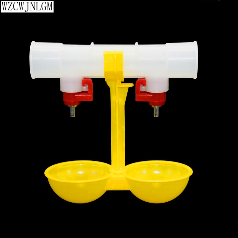 font b Pet b font supplies double outlet drinking hanging cup nipple drinker poultry drinker