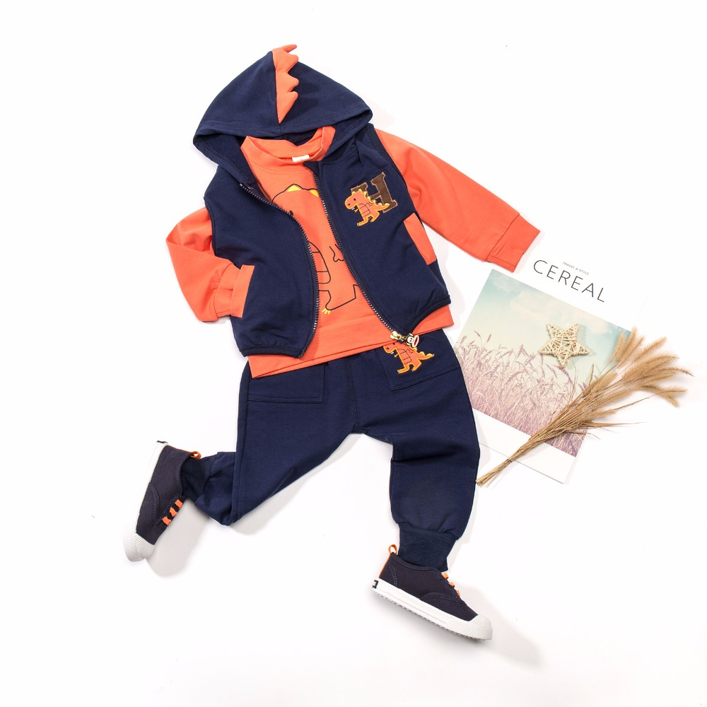 Autumn Fashion Baby Boy Clothing Kids Sport Suits Dinosaur Three Pieces Embroidered Long Sleeves Hooded Vest Clothes Set