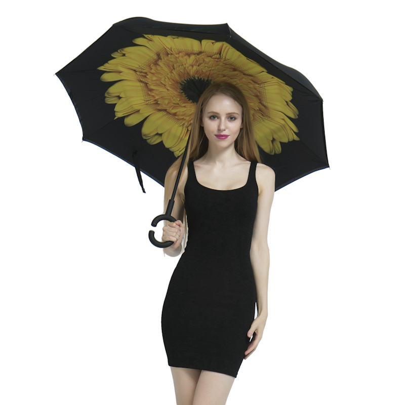 Folding Reverse Umbrella Double Layer Inverted Windproof Rain Car Umbrellas For Women