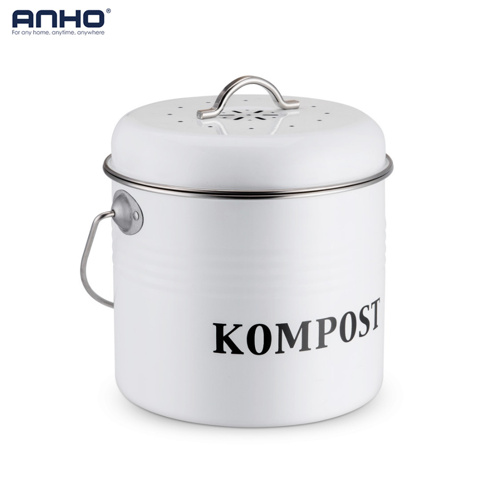 Kitchen Compost Bin 5L Organic Homemade Trash Can Melons Leaves Iron Round Charcoal Filter Bucket Outdoor Accessories