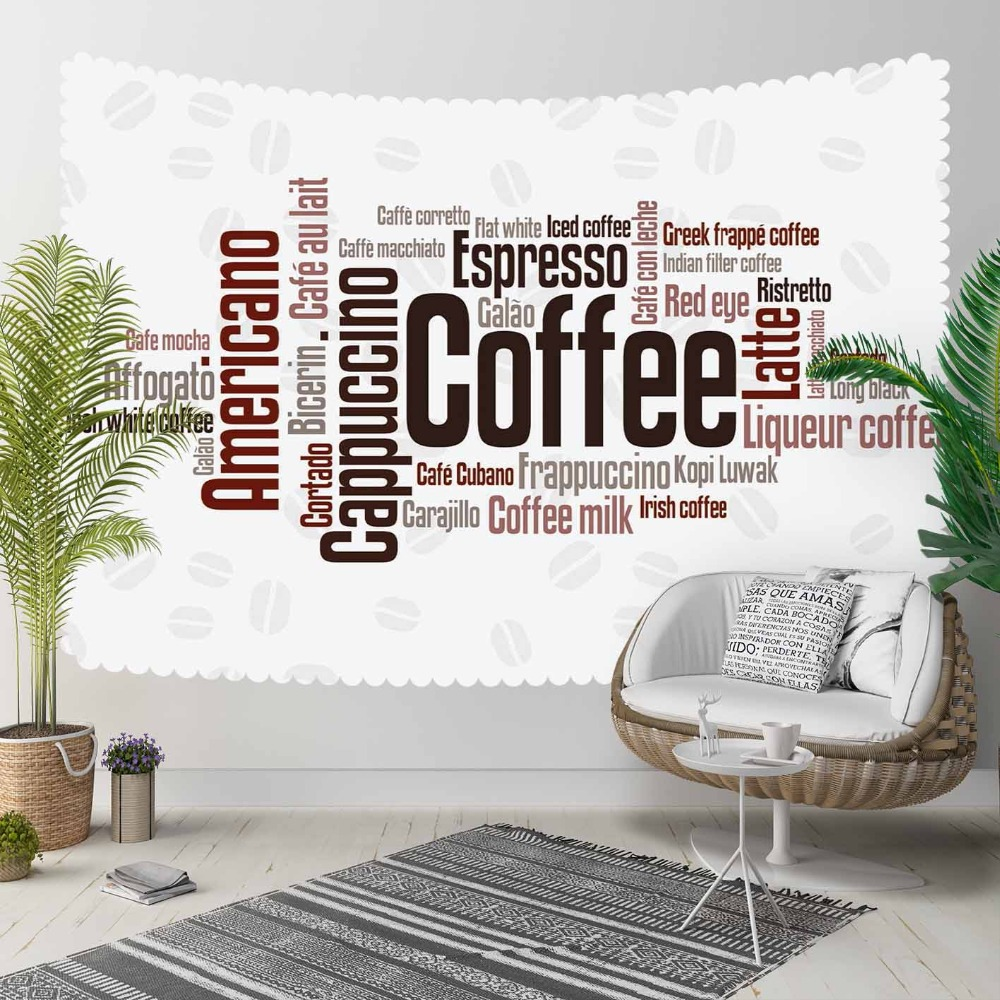 Else White Floor Brown Coffee  Bean Writen Americano 3D Print Decorative Hippi Bohemian Wall Hanging Landscape Tapestry Wall Art