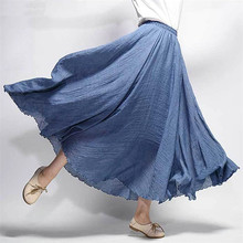 Women's Elegant High Waist Linen Maxi Skirt 2018 Summer Ladies Casual Elastic Waist 2 Layers Skirts saia feminina 20 Colors 2015 2 clubwear saia