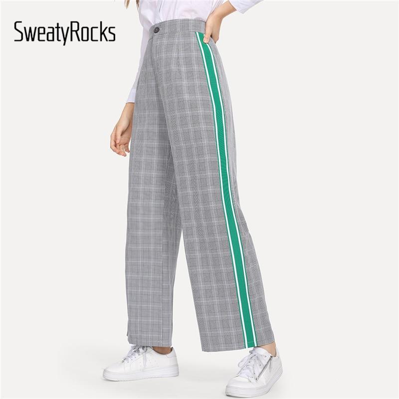 SweatyRocks Grey Casual Green Side Stripe Plaid   Wide     Leg     Pants   High Waist Fashion Lady Bottoms 2018 New Autumn Women Trousers