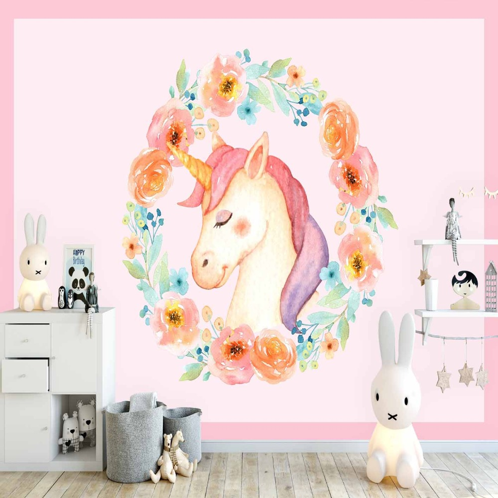Else Pink Unicorn Horses Orange Green Flowers 3d Print Cartoon Cleanable Fabric Mural Kids Children Room Background Wallpaper