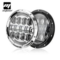 Mofaner 7 Inch Motorcycle Headlight Projector Round 75W LED Car Headlamp For Jeep Wrangler For Land