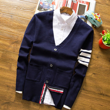 mens cardigans spring and autumn sweater casual slim V-neck wool cotton comfortable thin knit jacket male