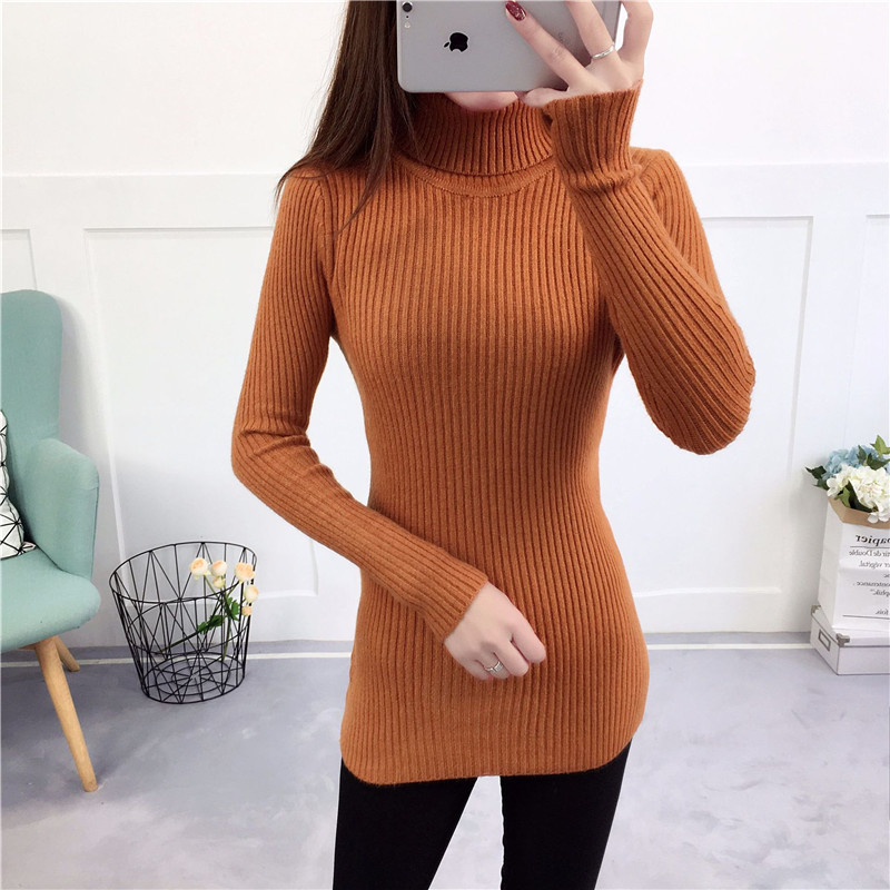 Knitted Pullover Sweaters Long-Sleeves Women Turtleneck Korean-Style Autumn Winter NEW