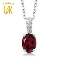 1 36 Ct Oval Red Rhodolite Garnet White Diamond 925 Sterling Silver Pendant