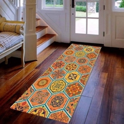 Else Orange Yellow Turkish Ethnic Patchwork 3d Print Non Slip Microfiber Washable Long Runner Mat Floor Mat Rugs Hallway Carpets